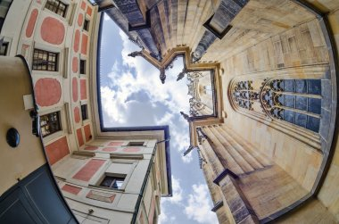 fisheye lens look of the Old Town on sky background . Prague