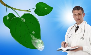 Green clean planet and healthcare.Ecology concept
