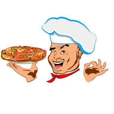 Chef and big pizza.Face Chef.Restaurant business. Vector