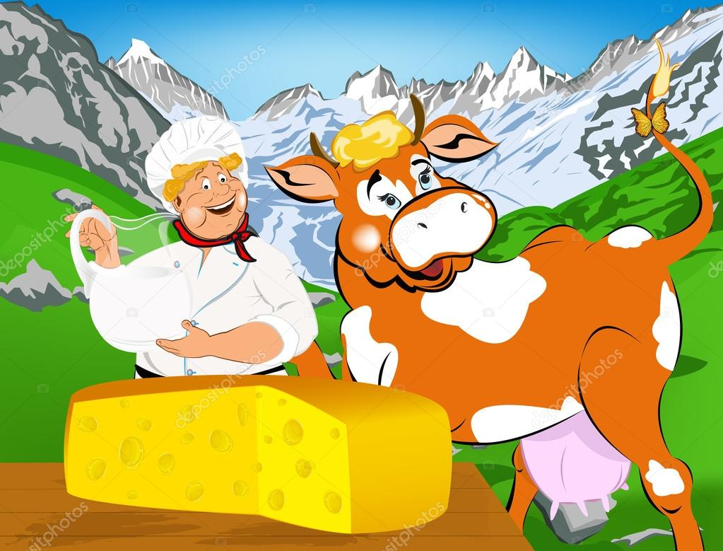 Label dairy products.Cheese.A cheerful milkman and cow