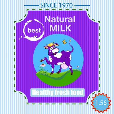 Label dairy products.A cheerful cow