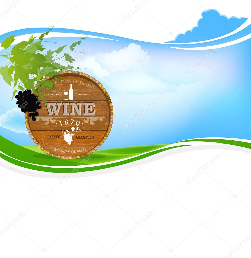 Best wine grape.Winemaking.Nature background.Vector