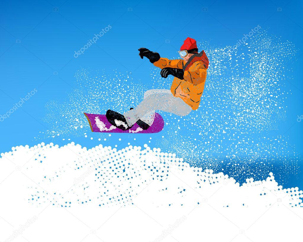 Extreme Snowboard.Mountain skiing.Vector