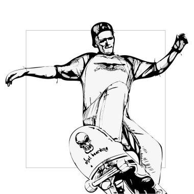 Illustration of jumping skateboarder stock vector