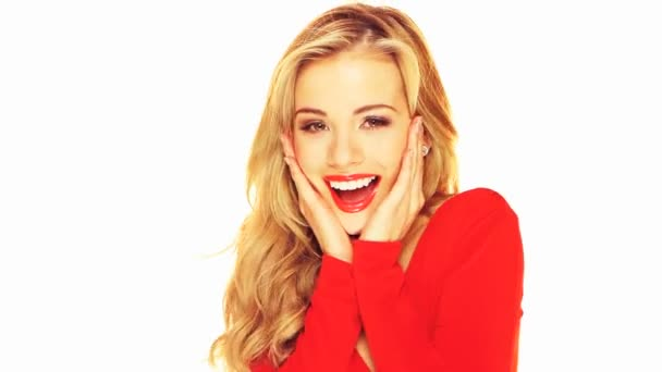 Laughing Blonde With Red Lipstick