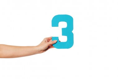 hand holding up the number three from the left