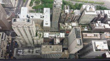 Aerial view looking down on skyscrapers