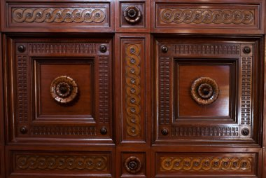Ornate wooden paneling