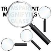Nástroje Lupa s transparentní brýlemi. vektorové ikony nastavit