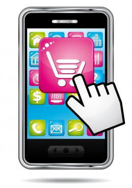 Smartphone with e-commerce opening application. Vector icon.