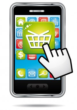 E-commerce shopping cart app on a smartphone. Vector icon.