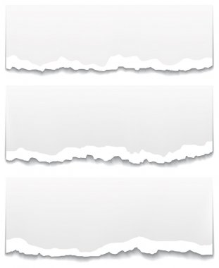 Torn and unstuck paper banners. Clean design backgrounds vector set.