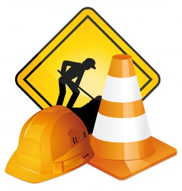Under construction sign, hardhat and traffic cone. Vector icons.