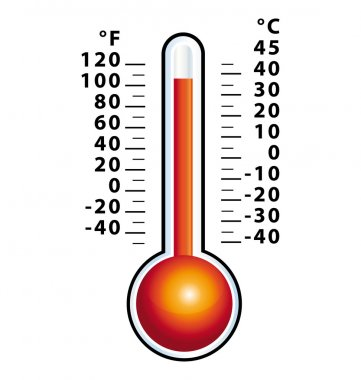 Front view hot thermometer vector