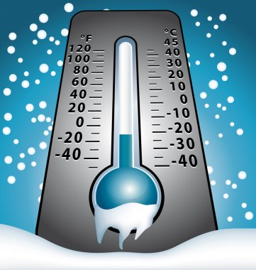 Winter frozen thermometer under snow vector