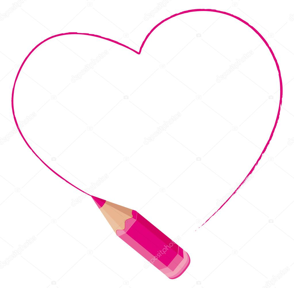 Pink heart freehand drawn by a colored pencil. Vector frame.