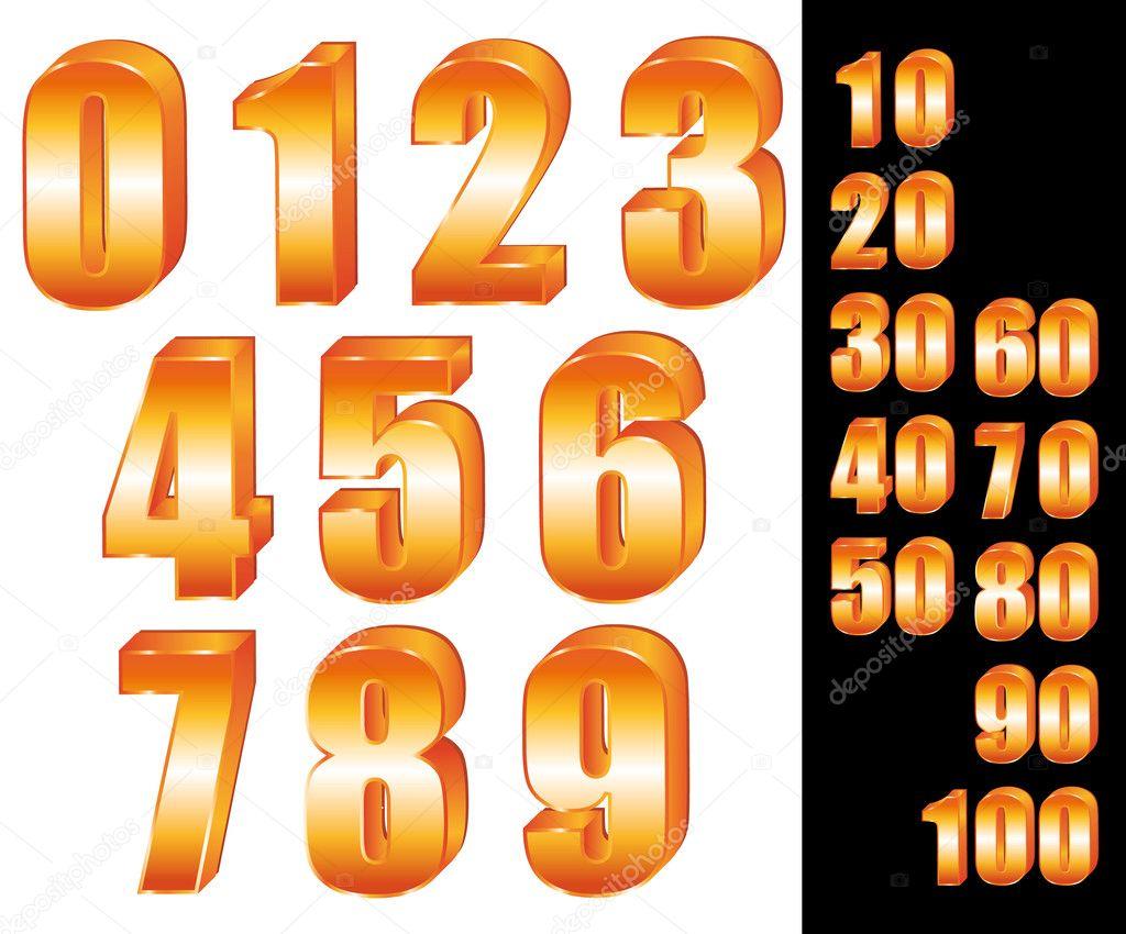 3D Gold numbers vector set  Zero to ten  Ten to hundred  — Stock