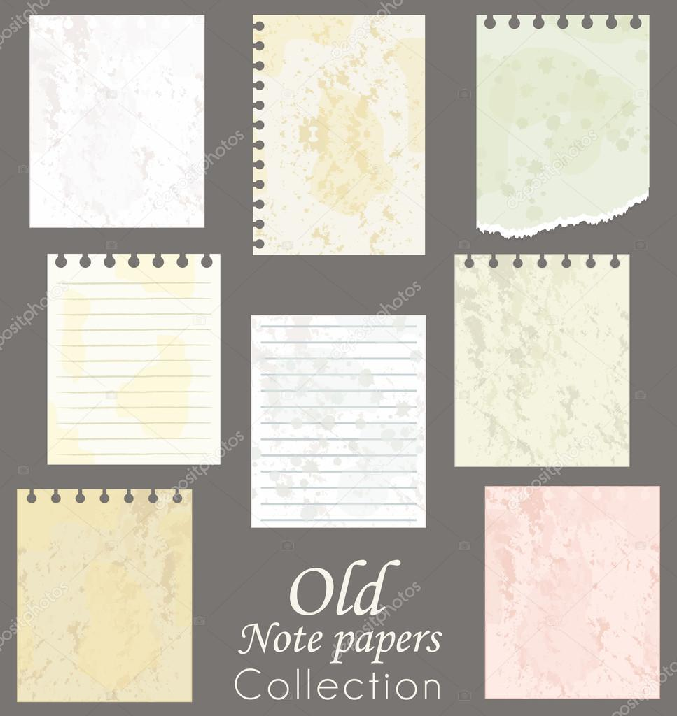 Scrapbook paper note - Old Note Papers Collection Scrapbooking Vector Set Vector By Albachiaraa