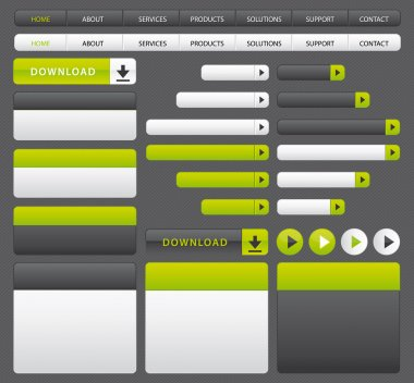 Website buttons, boxes and navigation bar. Green and grey set.