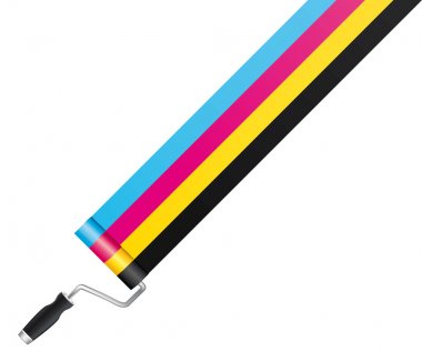 CMYK / CMJN Roller paint. Vector and isolated.