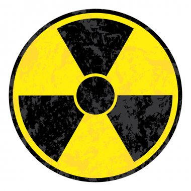 Radioactive symbol. Vector grunge icon.