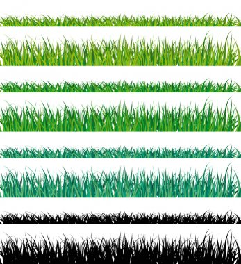 Vector grass fringes. Easy to edit.
