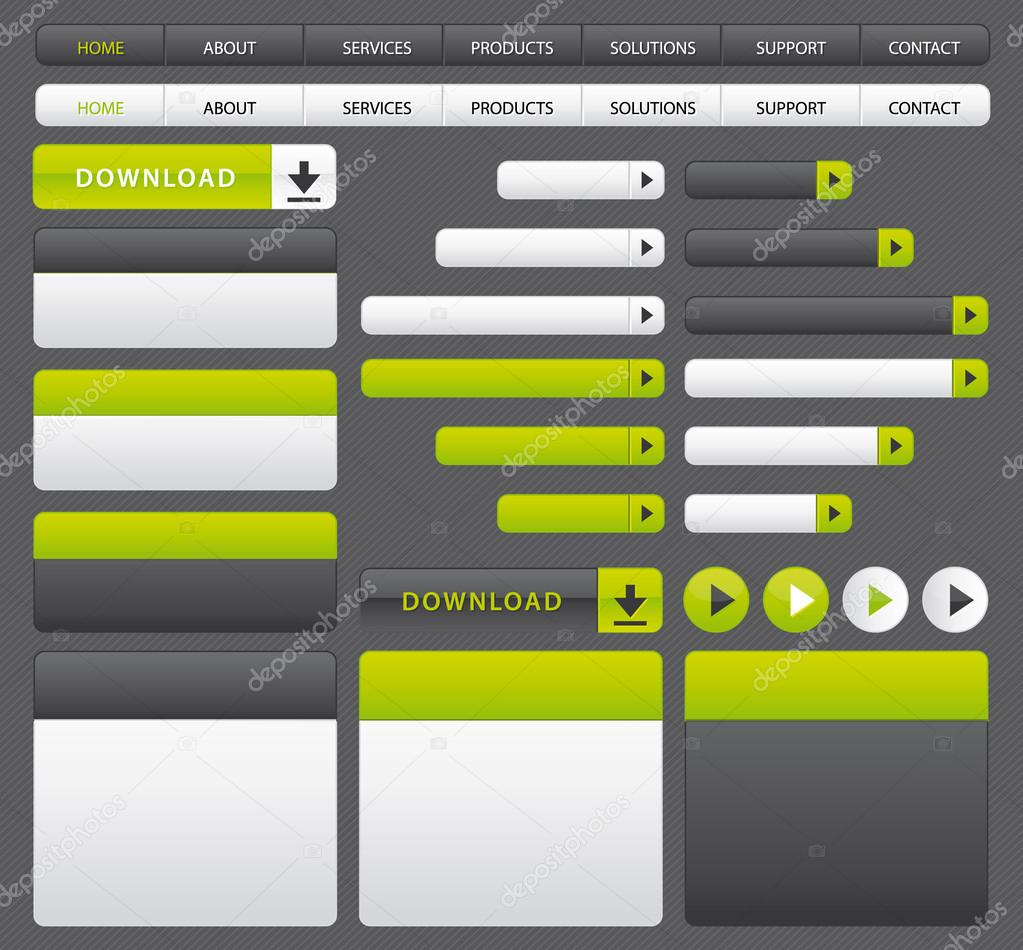 Website buttons, boxes and navigation bar. Green and grey set ...
