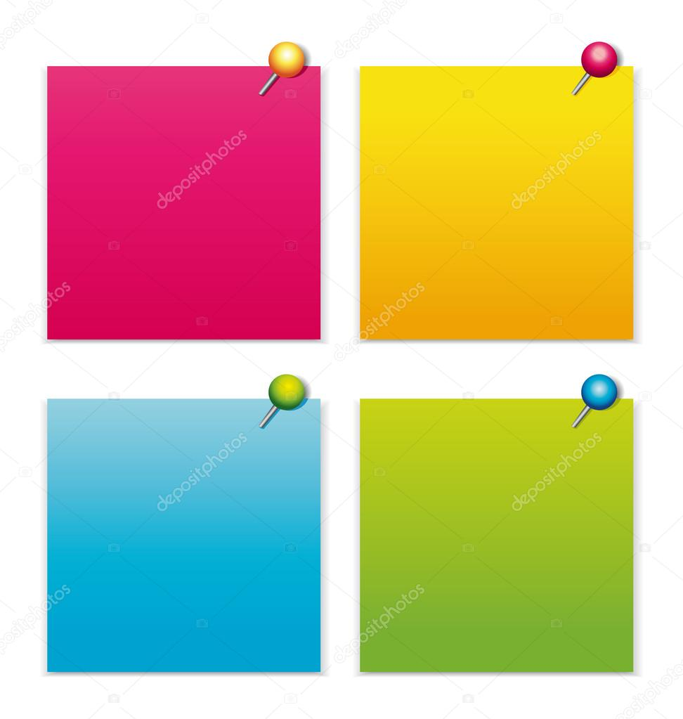 Colorful notepapers with pushpins vector collection