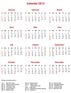 Simple vector 2013 Office Calendar.