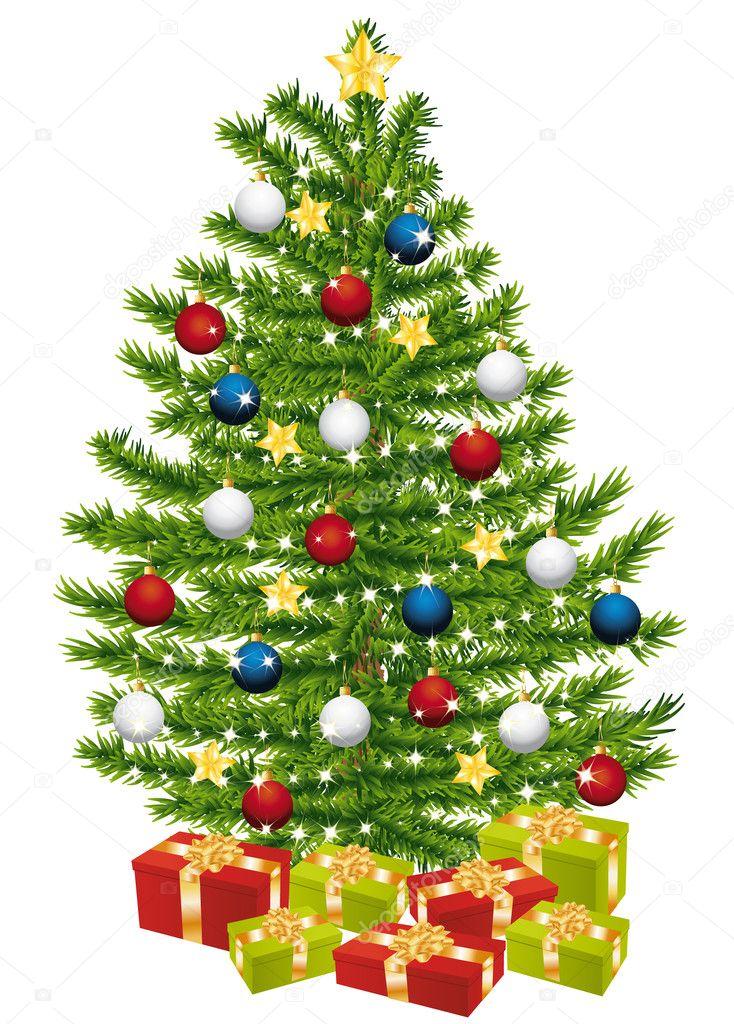 Decorazioni albero di natale con regali vettoriali stock - Decorazioni albero di natale ...