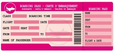 Boarding pass. Pink flight coupon.