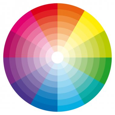 Color wheel with shade of colors. Vector icon. stock vector