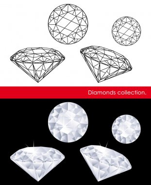 Diamonds vector collection. Gems and geometry.