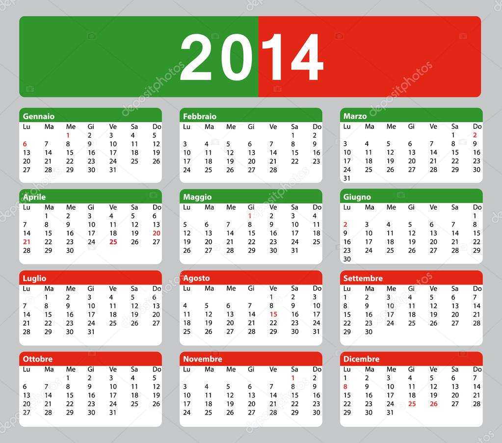 kalendar stock 2014 2014 printable Italian Calendar. Public holidays. — Stock Vector  kalendar stock 2014