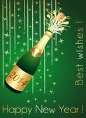 Fotografie Frohes neues Jahr! Grün und gold vertikale Grußkarte