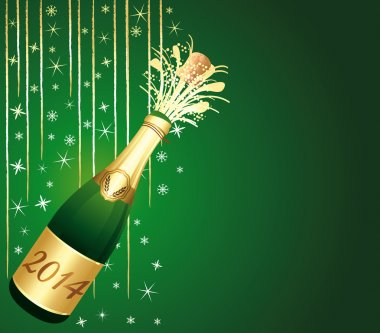 Green and gold festive background with 2014 bottle of Champagne.