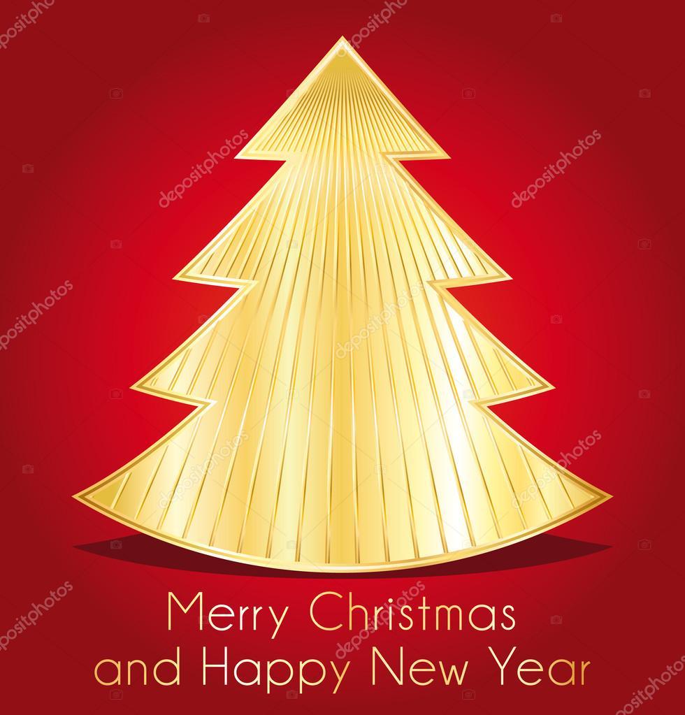 Frohe Weihnachten und glückliches neues Jahr. rote und goldene die ...