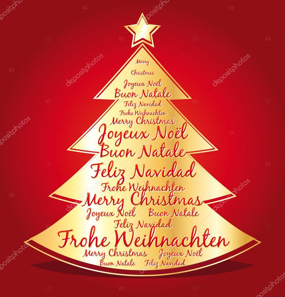 Feliz Navidad Joyeux Noel 2019.Joyeux Noel En Plusieurs Langues Carte De Voeux De Vecteur