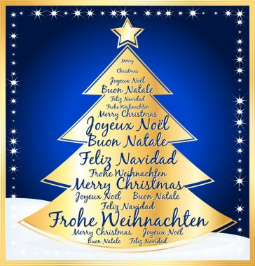 Christmas tree with greetings in several languages. Blue illustration.