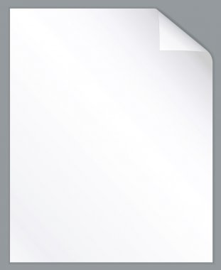 White paper sheet with folded corner. Vertical background.