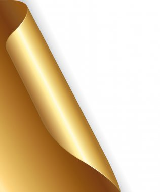 Gold festive paper with folded corner.