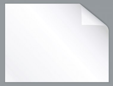 White paper sheet with folded corner. Horizontal background.
