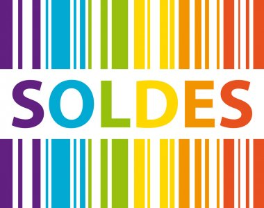 Soldes. Code barre multicolore. Shopping concept.