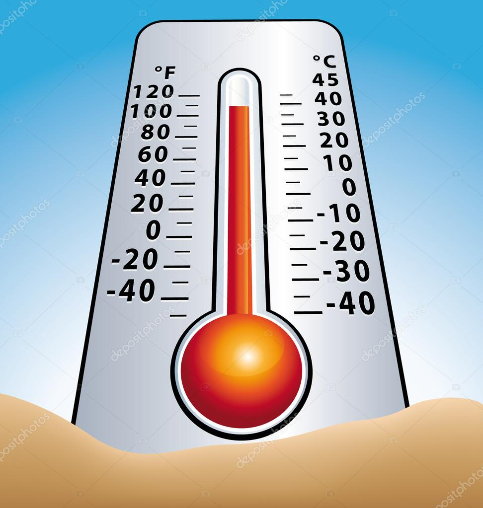 Hot temperature. Thermometer in sand.