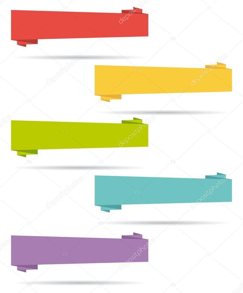 Flat design UI elements. Origami banners. Set I.