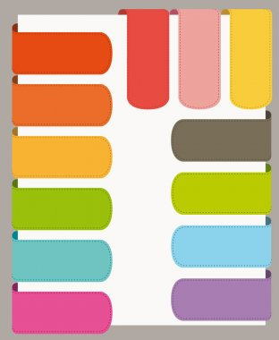 Colorful flat design UI bookmars set. Vector collection.