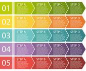Flat design. Process arrows boxes. Step by step vector set. Four steps.