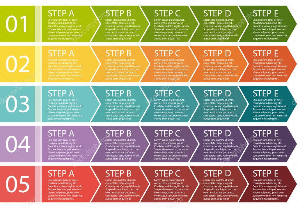 Flat design. Process arrows boxes. Step by step vector set. Five steps.
