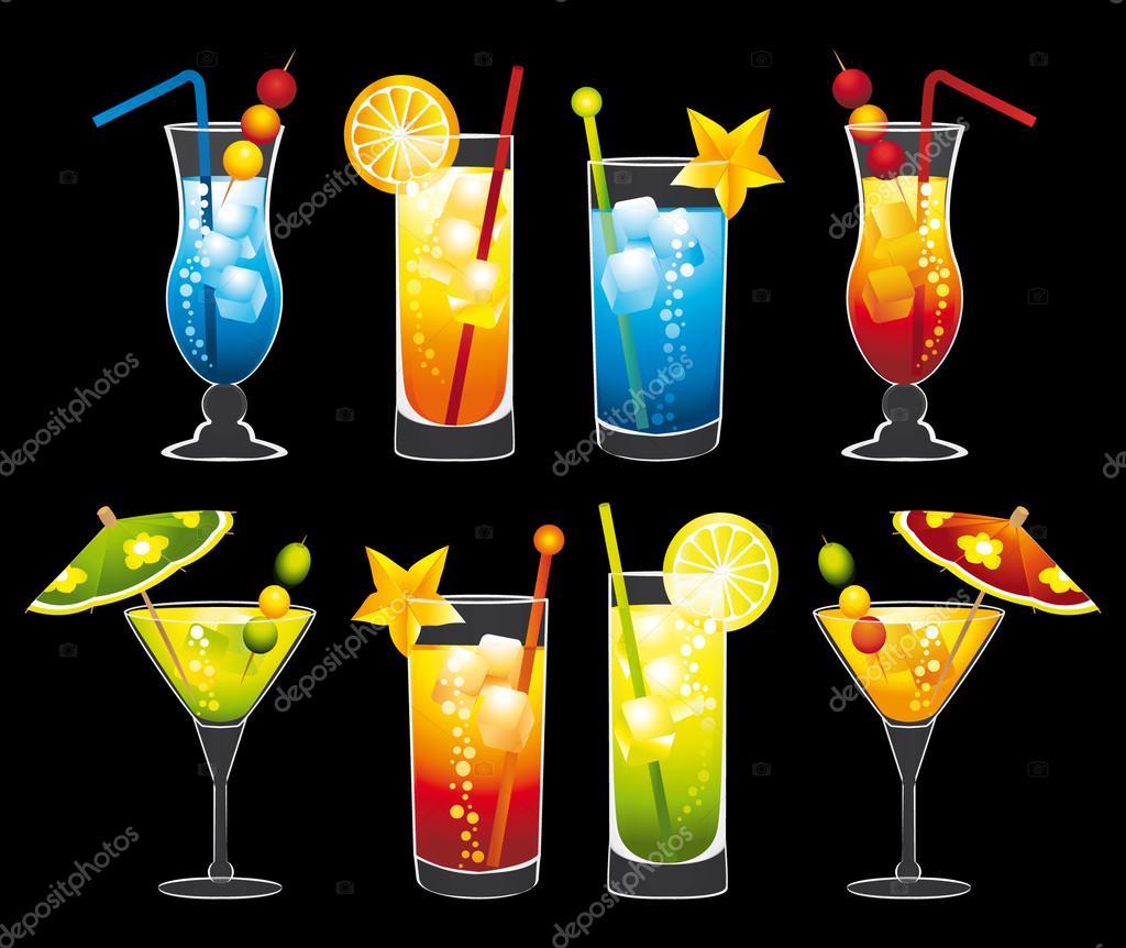 Cocktails set.