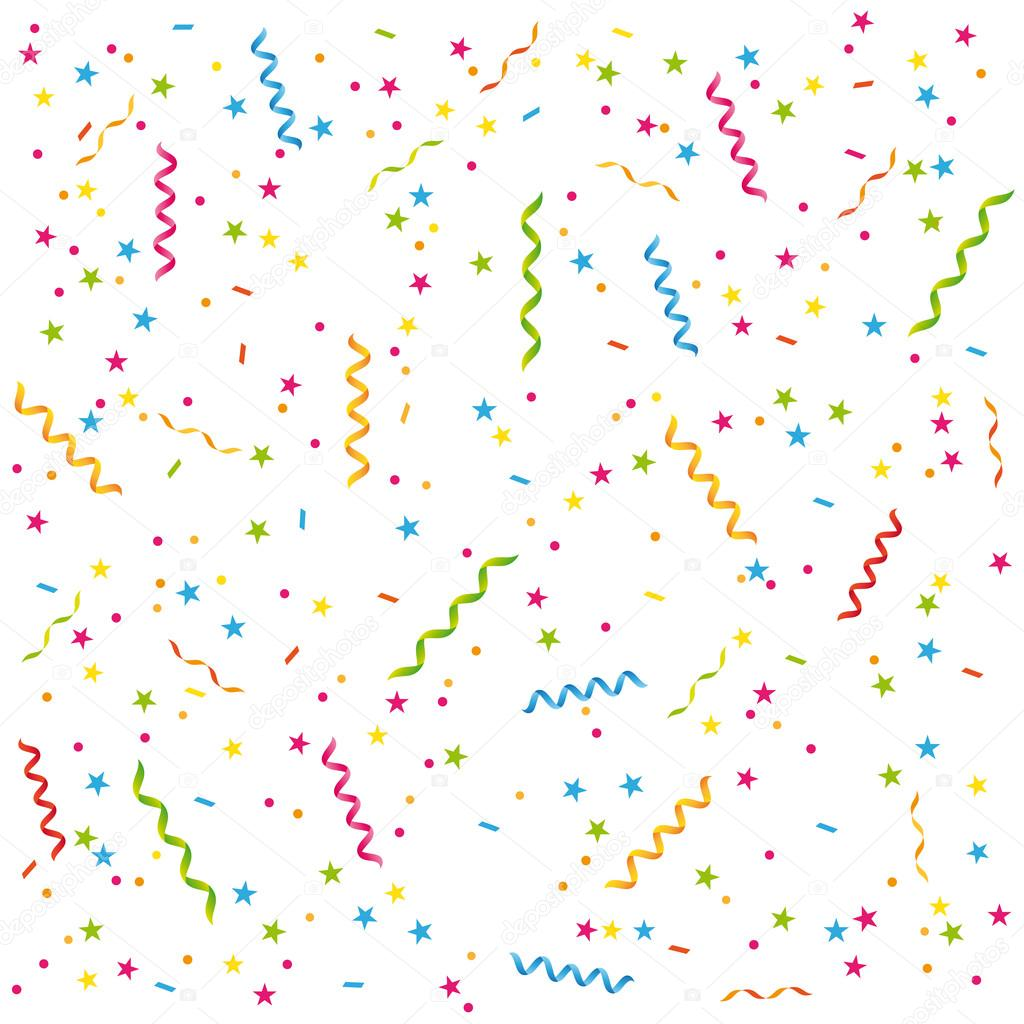 party streamers and confetti birthday card or celebration vector